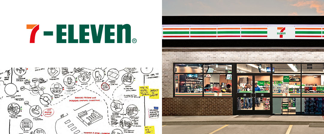 7-Eleven brand and store alongside image of wlhiteboard drawings